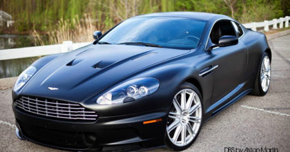 Satin black car wrap on Aston Martin DB-S. 12-Point SignWorks - Franklin TN