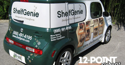 Car wrap advertising has a low cost per impression. 12-Point SignWorks - Franklin TN