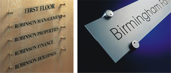 """""""Through-hole"""" and """"edge grip"""" style standoffs for architectural display signage. 12-Point SignWorks - Franklin TN"""