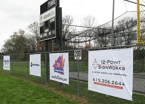 EWA ball field advertising banners. 12-Point SignWorks - Franklin TN
