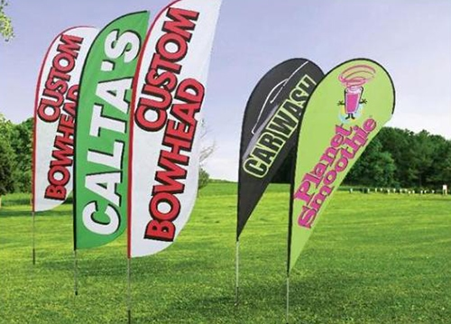 Bow and teardrop banners for advertising. 12-Point SignWorks - Franklin TN