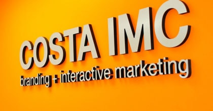 Brushed metal corporate logo sign for Costa IMC. 12-Point SignWorks - Franklin TN