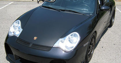 Custom matte black hood wrap on a Porsche 911. 12-Point SignWorks - Franklin TN
