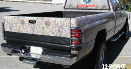 Custom Mossy Oak camo wrap on a Dodge RAM truck. 12-Point SignWorks - Franklin TN