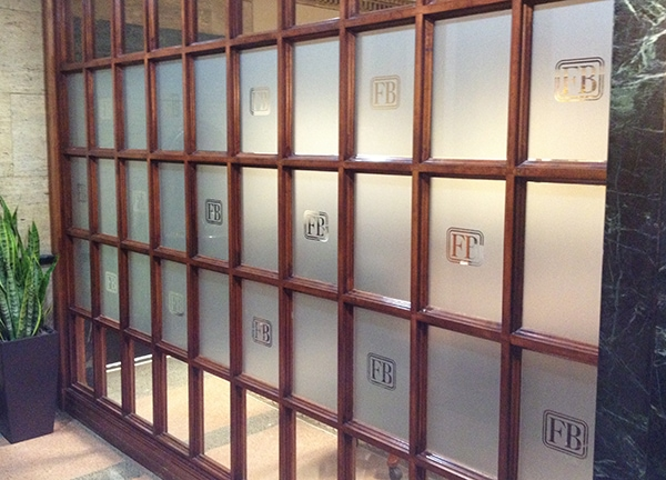 Etched frosted glass vinyl window graphics with the FirstBank ...