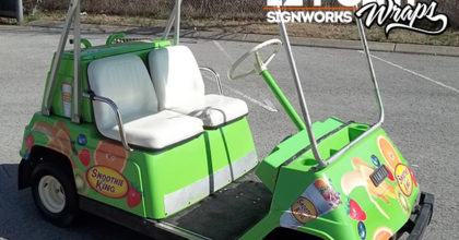 Smoothie King painted golf cart with individual fruit cut vinyl graphics. 12-Point SignWorks - Franklin TN