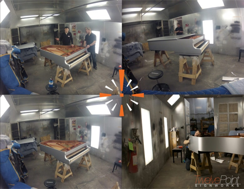 Super Bowl vinyl piano wrap prior to final assembly. 12-Point SignWorks - Franklin TN