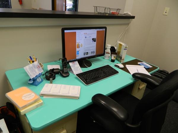 Tiffany Blue vinyl wrapped desks. 12-Point SignWorks - Franklin TN