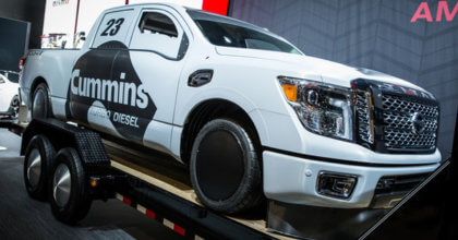 The completed wrap and modifications of the 2016 Nissan TITAN XD at the 2015 SEMA Show in Las Vegas. 12-Point SignWorks
