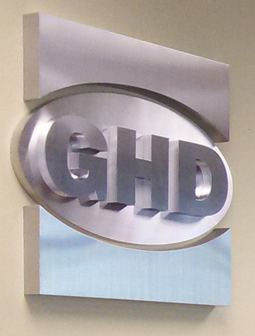 New metal logo sign for the rebranded GHD office in Middle Tennessee. 12-Point SignWorks - Franklin, TN