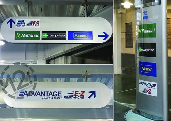 Rebranding the signage at the Nashville International Airport for Advantage Rent A Car. 12-Point SignWorks - Franklin, TN