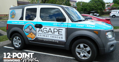 2004 Honda Element custom advertising wrap for Agape Animal Rescue. 12-Point SignWorks - Franklin, TN