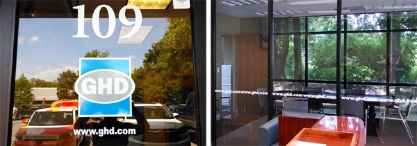 Door and window cut vinyl decals for the Middle Tennessee GDH office rebranding project. 12-Point SignWorks - Franklin, TN