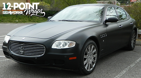 Maserati with a matte black custom wrap. 12-Point SignWorks - Franklin, TN