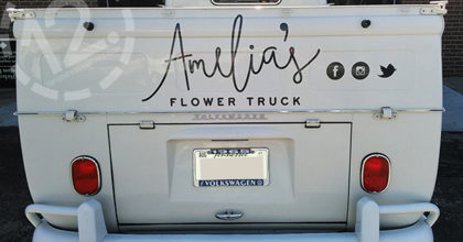 Cut vinyl graphics for the back of Melody - the third truck for Amelia's Flower Truck in Nashville. 12-Point SignWorks - Franklin TN