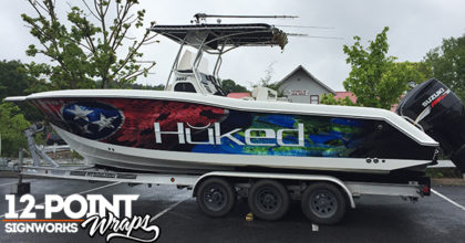 The completed custom boat wrap on the Triton 2895 CC. 12-Point SignWorks - Franklin TN