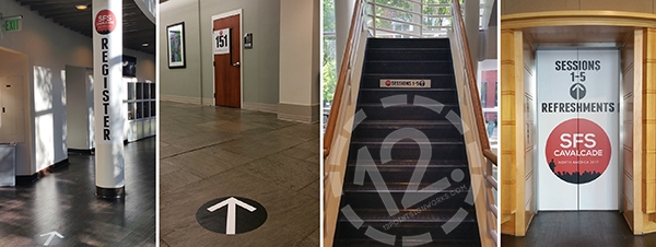 Signage on column, door, stairs and elevator at SFS Cavalcade North America 2017. 12-Point SignWorks - Franklin TN