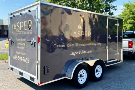 Golden Custom Trailer Decals for Jasper Builds Installed by 12-Point SignWorks: Franklin, TN