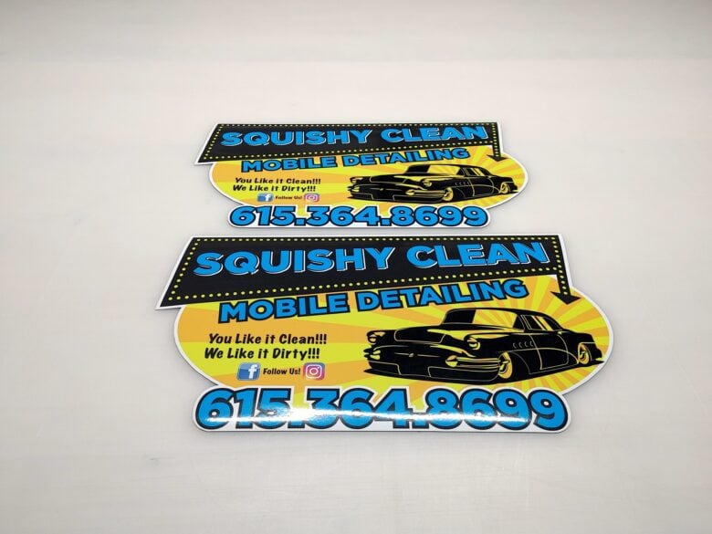 Custom Trailer Stickers for Squishy Clean Mobile Detailing in Nashville/ 12-Point SignWorks