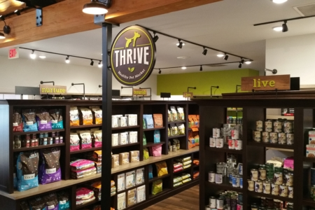 Hanging Dimensional Sign & Custom Graphics for Thrive Healthy Pet Market in Franklin, TN/ 12-Point SignWorks