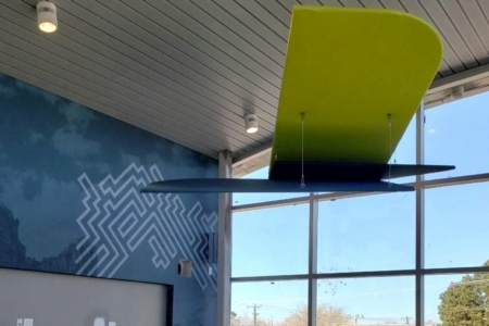 Hanging Abstract Logo Structure for U.S. Eagle Federal Credit Union in NM. / 12-Point SignWorks & NewGround
