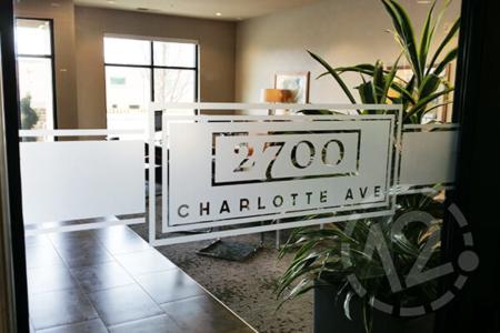 Etched glass vinyl for 2700 Charlotte Ave Apartments in Nashville. 12-Point SignWorks - Franklin, TN