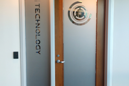 Privacy Etched Vinyl for 3D Technology by 12-Point SignWorks in Franklin, TN.