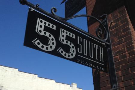 Hanging Exterior Logo Sign for 55 South/ Nashville/ 12-Point SignWorks/ Metal Sign/ Vinyl Letters