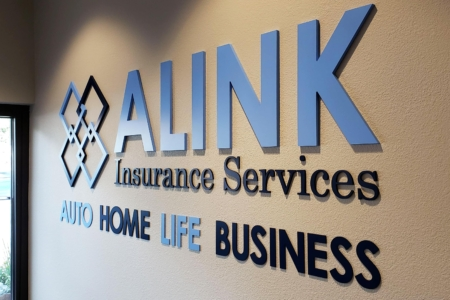 Acrylic Letters & Brand Mark for ALINK Insurance Services in Colorado / 12-Point SignWorks/ Franklin/ Lobby Graphics