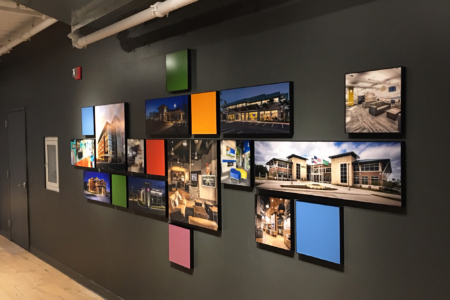 Architectural Photo Display for NewGround Chicago by 12-Point SignWorks.