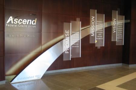 Acrylic Panels/ Directional Signage for Ascend Federal Credit Union/ Nashville/ 12-Point SignWorks
