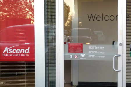 Custom Window Graphics for Ascend Federal Credit Union by 12-Point SignWorks in Franklin, TN.