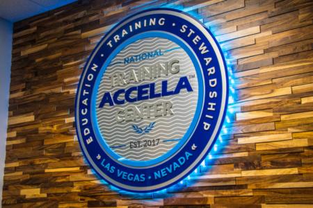 Backlit Logo Sign for The National Training Accela Center in Las Vegas, NV/ 12-Point SignWorks/ Lobby Graphics