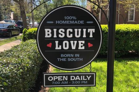 Custom Hanging Logo Sign for Biscuit Love in Franklin, TN/ 12-Point SignWorks/ Directional Signage