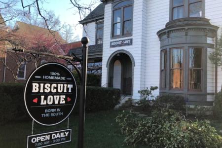Custom Hanging Logo Sign for Biscuit Love in Franklin, TN/ 12-Point SignWorks