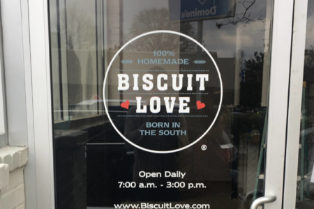 Custom window graphics for Biscuit Love. 12-Point SignWorks - Franklin, TN