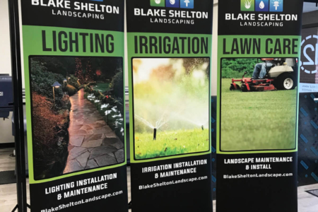 Custom pop-up banner and printed box by 12-Point SignWorks in Franklin, TN.