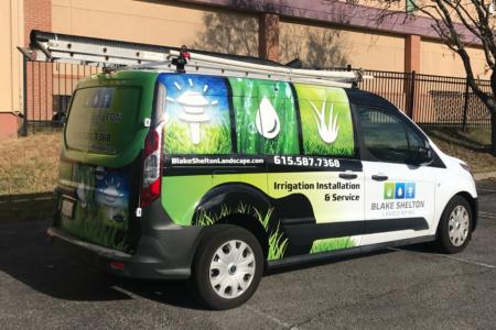 Custom Van Wrap for Blake Shelton Landscaping / !2-Point SignWorks