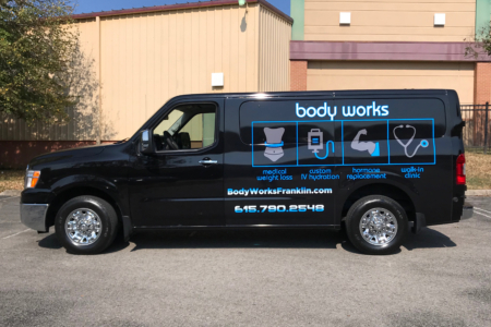 Partial Bus Wrap for Body Works/ 12-Point SignWorks/ Franklin/ Advertising Wrap