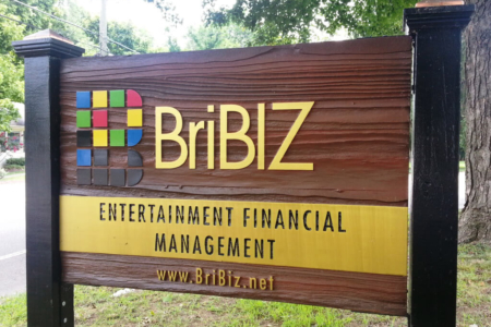 Outdoor Signage/ Acrylic Logo Sign for BriBiz Entertainment Business and Financial Manage