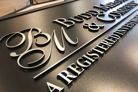 Brushed Metal Sign for Budd, Melone & Company/ 12-Point SignWorks/ Franklin, TN