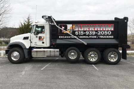 Custom Advertising Wrap for Burrahm Construction by 12-Point SignWorks in Franklin, TN.