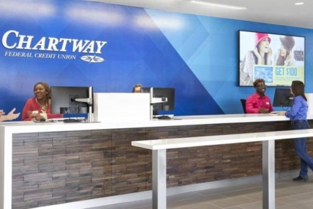 Facility Branding Graphics for Chartway Federal Credit Union/ 12-Point SignWorks/ Wall Mural/ Dimensional Letters