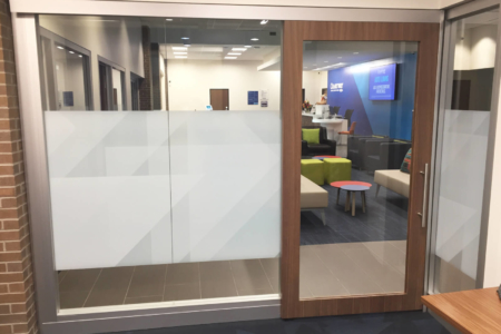 Privacy Vinyl for Chartway Federal Credit Union by 12-Point SignWorks in Franklin, TN.