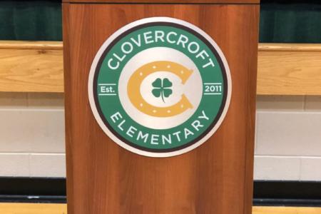 Custom podium plaque for Clovercroft Elementary School. 12-Point SignWorks - Franklin, TN