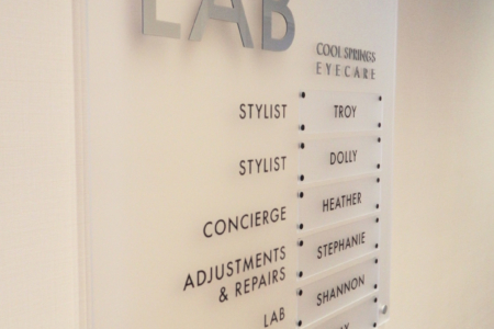 Directional Signage/ Frosted Acrylic Panel for Cool Springs Eye Care / Franklin, TN/ 12-Point SIgnWorks