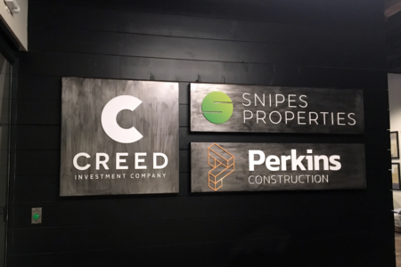 Lobby Logo Signs/ Metal Panels for Creed Investment Company, Perkins Construction, and Snipes Properties