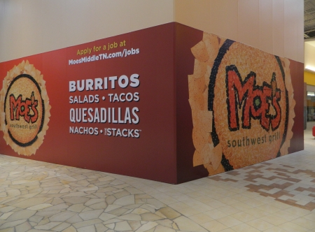 Temporary wall mural for Moe's Southwest Grill at Opry Mills in Nashville Tennessee. 12-Point SignWorks - Franklin TN