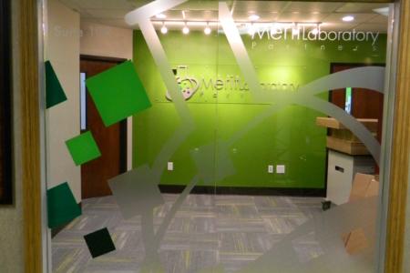 Custom window graphics for Merit Laboratory. 12-Point SignWorks - Franklin TN