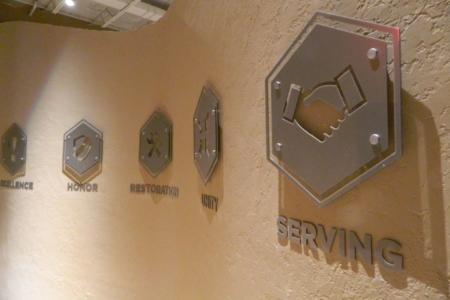 Dimensional Metal Branding Panels for Liveminds Adventure Escape